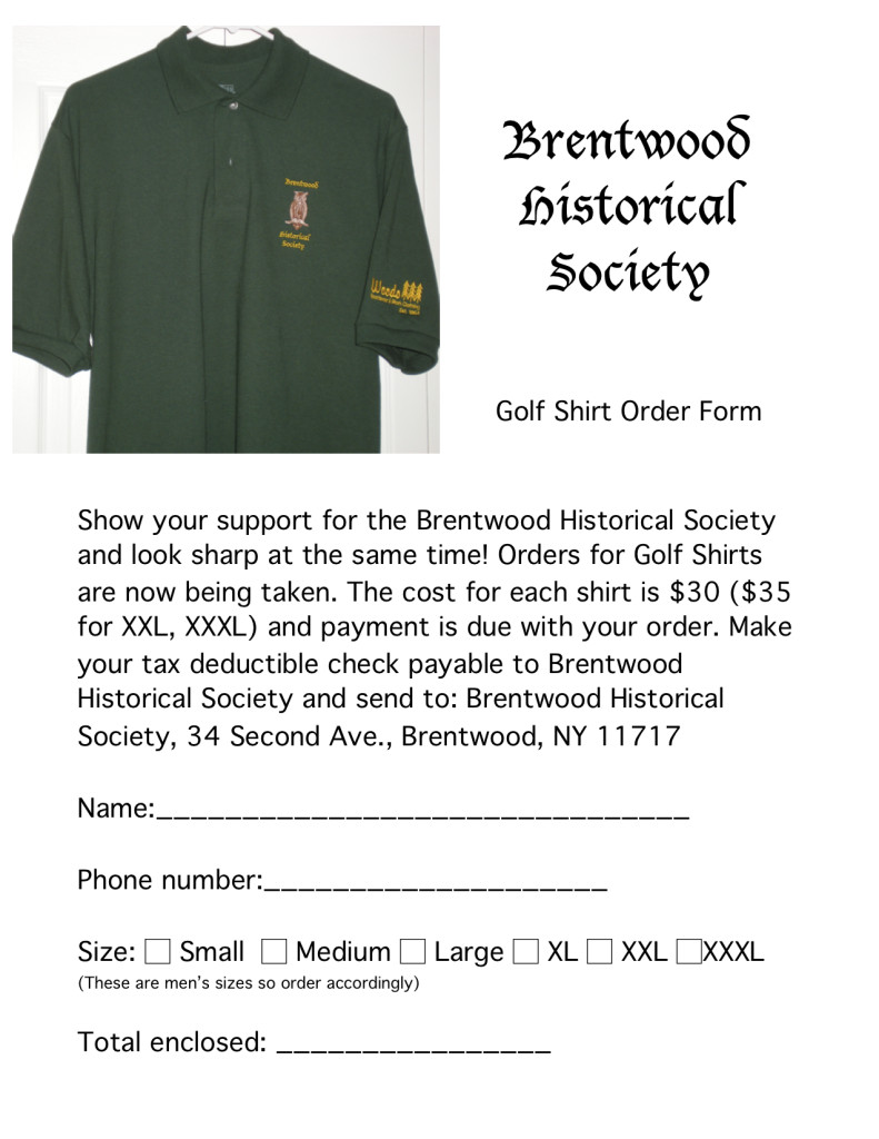 Golf Shirt Order Form